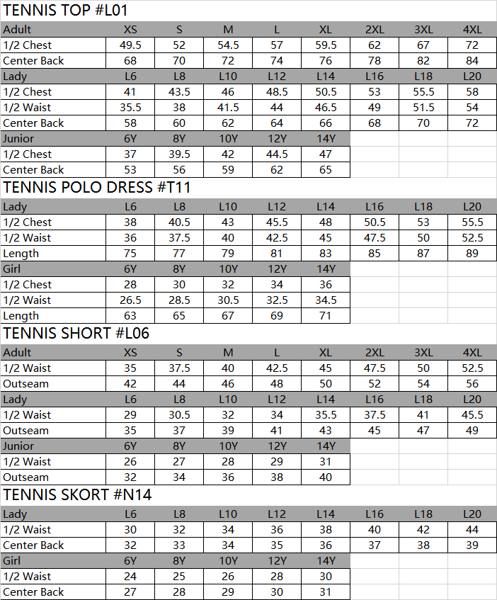 tennis size chart,tennis top size chart,tennis short size chart,tennis skort size chart,tennis skirt size chart